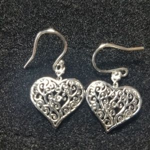Sterling silver vining heart earrings.